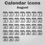 The calendar icon. August symbol. Flat - stock illustration