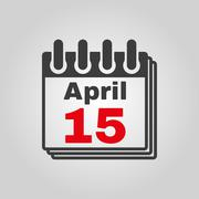 The Calendar 15 april icon. Tax day Stock Illustration