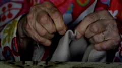 A Very Old Woman Sawing A Hem For Her Blouse, Senescence, Hands Detail, Still  Stock Footage