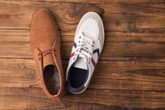 Casual and dressy mens shoes Stock Photos