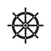 The ship steering wheel icon. Sailing symbol. Flat Stock Illustration