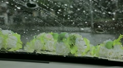 Drops Of Rain On Windshield of Wedding Car Stock Footage