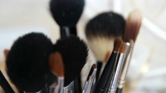 Make-up Brush Set In Close-up Stock Footage