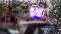 Rain Drops Flowing On Car Glass Stock Footage