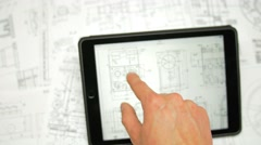 4 in 1 video! Hand work with tablet by blueprint engineering project background - stock footage