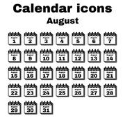 The calendar icon. August symbol. Flat - stock illustration