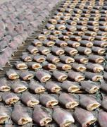 Sun dried salid fish before cooking sell in the market in thailand Stock Photos