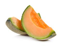 cantalupe melon on a white background - stock photo