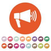 The megaphone icon. Bullhorn symbol. Flat - stock illustration