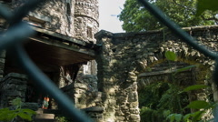 Spooky Abandoned Castle in woods, Entryway - stock footage