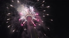 CN Tower Fireworks Opening Ceremony, 2015 Toronto Pan Am/Parapan Am Games Stock Footage
