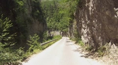 20 km one-lane two-way road is steep and difficult areas. Stock Footage