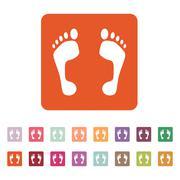 The footprint icon. foot symbol. Flat - stock illustration