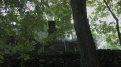Abandoned Castle low angle with sun glimmer, PAN - stock footage