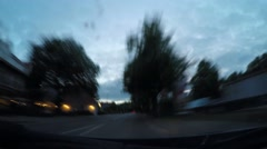 The car goes on the road in the countryside. Time Lapse Stock Footage