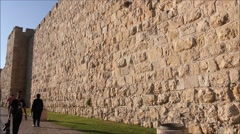 Ancient Wall in The Holy City of Jerusalem Day by Day - stock footage