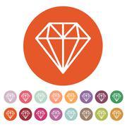 The diamond icon. Jewel symbol. Flat - stock illustration