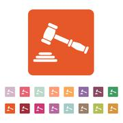 The judge or auction hammer icon. Justice symbol Piirros