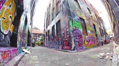 People visiting the Hosier Lane in Melbourne Stock Footage