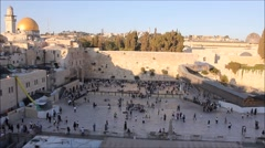 Prayers at the Western Wall in the The Holy City of Jerusalem Day by Day - stock footage