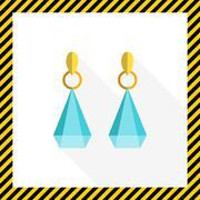 Earrings with gemstones - stock illustration