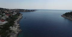 Aerial drone scene of croatian bay, Dalmatian coast. Stock Footage
