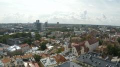 Panorama of Old Town Tallinn in Estonia Stock Footage