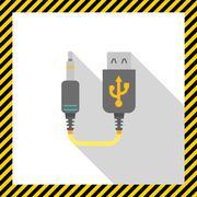 Mini USB to jack cable Stock Illustration