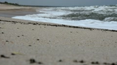 Big waves on the beach of the Curonian Spit. Storm on the sea. - stock footage