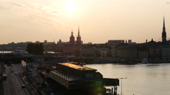 Sunset time lapse from Gamla stan and ridderholmen islands in Stockholm Stock Footage