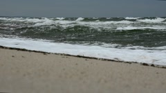 Big waves on the beach of the Curonian Spit. Storm on the sea. Stock Footage
