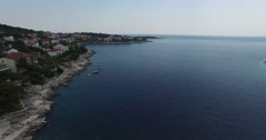 Aerial drone scene going fast, quickly by a croatian coastline. Stock Footage