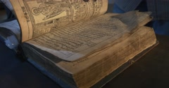 "Ancient Book Pages Closeup, Script, Pictures, Nestor The Chronicler's Book ""The Stock Footage"
