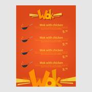 Stock Illustration of Wok cafe menu, template design. Flat style vector illustration