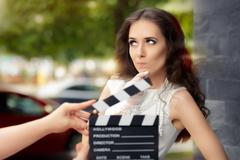 Actress Thinking About Next Line During Movie Shoot Stock Photos