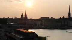Sunset from Gamla stan and ridderholmen islands in Stockholm Stock Footage