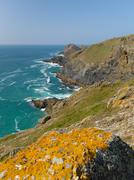 South West coast path view between Holywell bay and Perranporth Cornwall UK - stock photo