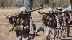 US Marine Squadron Walk Stock Footage