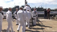 US Navy Submarine Minnesota Harbour Stock Footage
