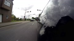 The camera on the side of the car. Car in the countryside. Time lapse Stock Footage