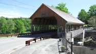 Stock Video Footage of Cars Drive Over The Quechee Covered Bridge In Vermont