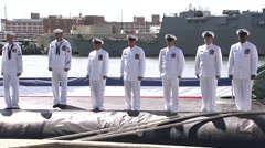 US Navy Submarine Minnesota Harbour - stock footage