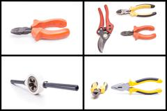 wrench pliers, cutters hardware set - stock photo