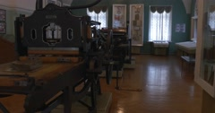 Early Printer's Tools, Printing Equipment, History of Printing, Museum, Stock Footage