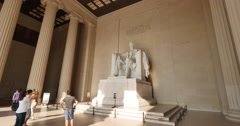 Tourists Visit the Lincoln Memorial Stock Footage