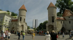 Gate towers to old town in Tallinn in Estonia Stock Footage