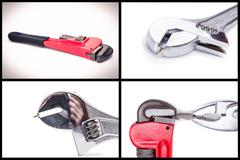 pliers and wrench isolated over a white background set - stock photo