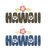 Stock Illustration of Vector illustration of Hawaii word in vintage colors