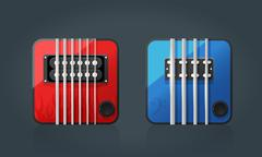 Vector set of electric guitar icons for music software Stock Illustration