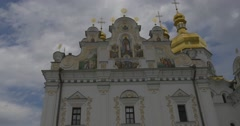 Uspenski Cathedral in Kiev, Cathedral Of Asleeping of Mary, Exterior, White Stock Footage